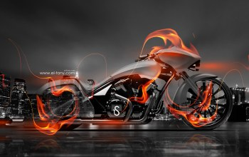 огненный,el tony cars,moto,обои,ночь,стиль,crystal,Байк,Мотоцикл,fire,bike,Тони Кохан,bike,Tony kokhan,вид сбоку,photoshop,hd wallpapers,прозрачный,orange