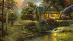 art,Cottage,томас кинкейд,thomas kinkade,Stillwater cottage,painting