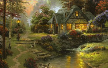 Cottage,томас кинкейд,thomas kinkade,Stillwater cottage,painting