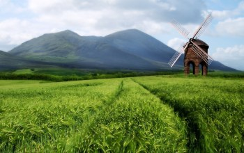 mill,wind,Holland,mountain,grass,field,clouds