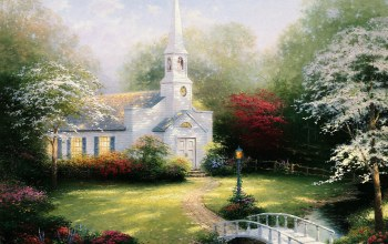 bridge,Lamp,Hometown chapel,chapel,thomas kinkade,томас кинкейд,paintig