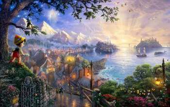 thomas kinkade,50-th anniversary,pinocchio wishes upon a star,the disney dreams collection