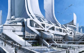 thessia,mass effect 3,башни,concept art