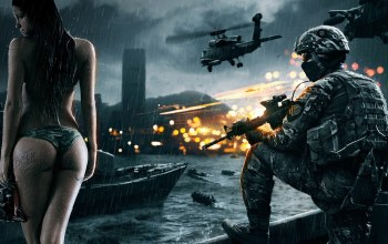battlefield,girl,gun,war,fire,soldier