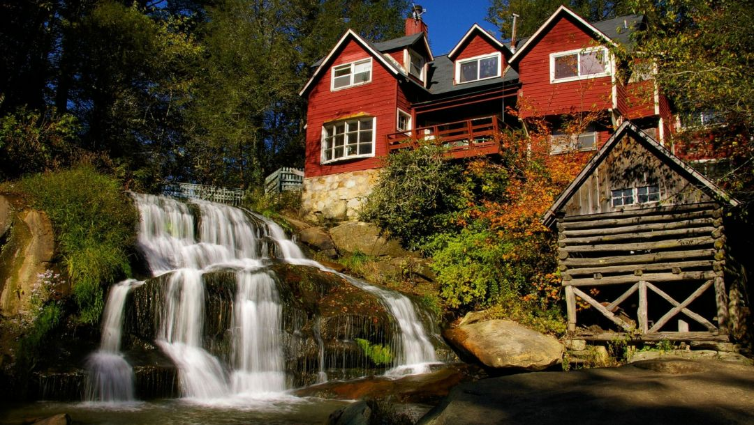 river,tree,house,waterfalls,forest,water
