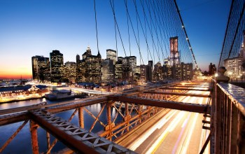 Sunset,Brooklyn bridge,Nyc,Financial district,new york