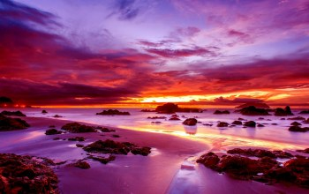 Sunset,water,Purple,sky,ocean