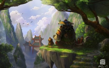 Панда,world of warcraft,азия,mists of pandaria,скалы
