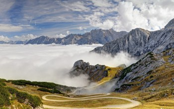 clouds,sky,Road,grass,alps