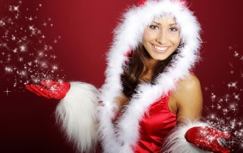 girl,Hat,brunette,Santa