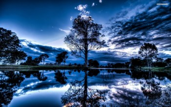 water,blue,tree,clouds,sky,reflextion