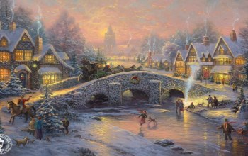 thomas kinkade,дух Рождества,Spirit of christmas