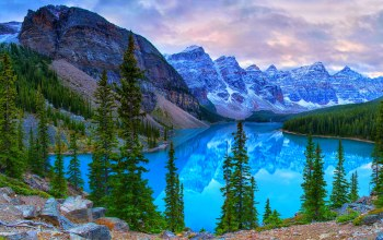 mountains,canada,Moraine lake,trees