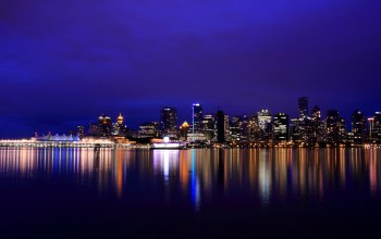 british columbia,lights,Night city,vancouver,reflection,Канада,river,canada