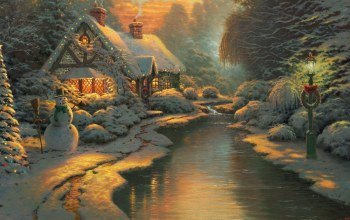 christmas,thomas kinkade,christmas evening,Пейзажи