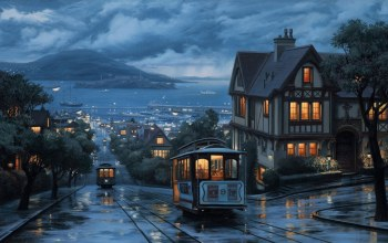 eugeny lushpin,street,port,landscape,evening,painting,lushpin,An evening journey