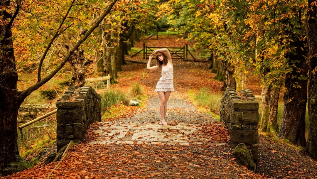 autumn,trees,bridge,dress,girl,path,leaves