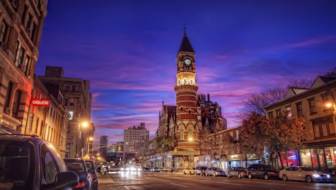 6th ave and 9th st.,Nyc,new york,jefferson market,village,ночь