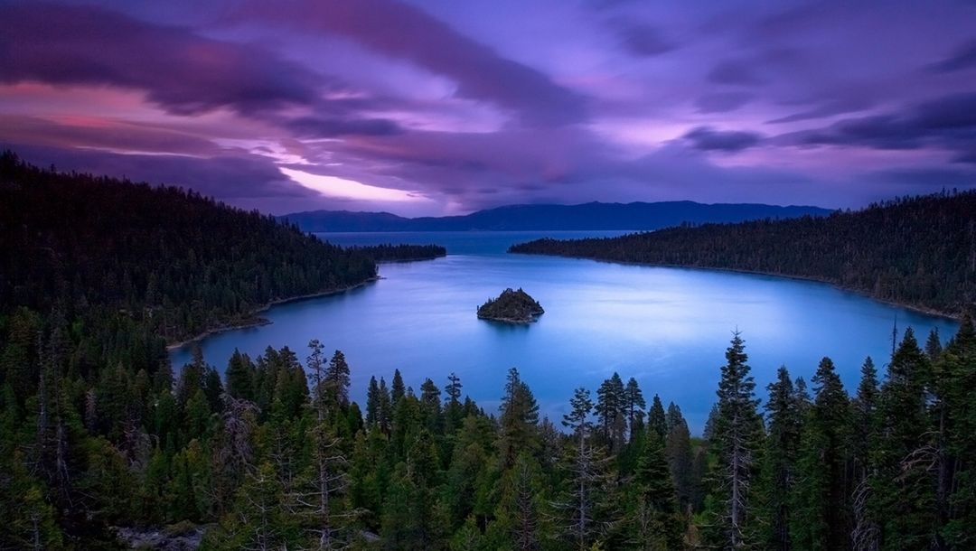 clouds,Purple,sky,water,mountain