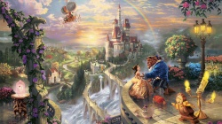 thomas kinkade,beauty and the beast falling in love,the disney dreams collection