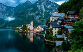 tree,water,mountain,austria,hallstatt,light