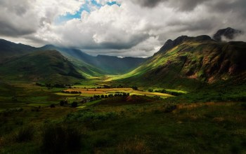houses,mountain,clouds,valley