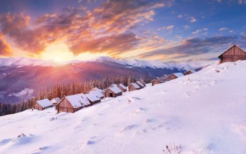 path,mountain,cabin,snow,winter,trees