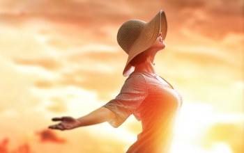 freedom,woman,Sunset,Hat