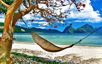 tropical,Exotic,grass,landscape,clouds,hammock,ocean,summer,beach,sky