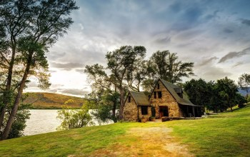 river,grass,water,tree,Cottage