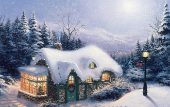 живопись,christmas,silent night,картина,thomas kinkade,Пейзажи