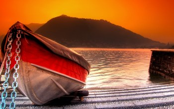 river,water,mountain,boat,Sunset