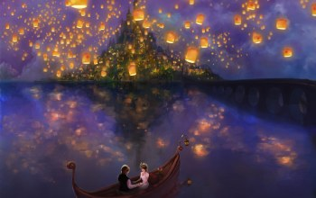 bridge,lights,boat,the movie,flynn,Tangled,princess,rapunzel