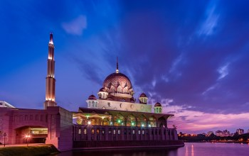 Sunset,putrajaya,clouds,evening,mosque,strait,lights,Malaysia,малайзия,Purple,sky