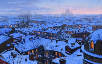 evening,snow,roofs,winter,eugeny lushpin,St petersburg,st petersburg roofs,houses