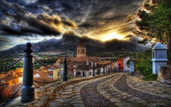 houses,old,Road,clouds,mountain,sky,colorful,architecture,street,Sunset,colors