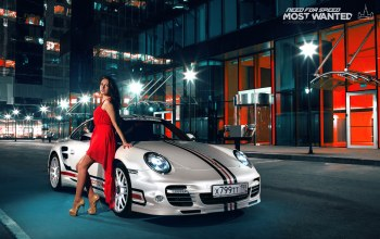 911,номер 199 rus,Need for speed most wanted,ночь,фары,Porsche 911 turbo,полоски,porsche,свет,здание