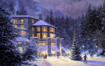 christmas,thomas kinkade,картина,christmas at the ahwahnee