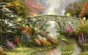 lamps,Magic,bridge,painting,thomas kinkade,beautiful,Stillwater bridge