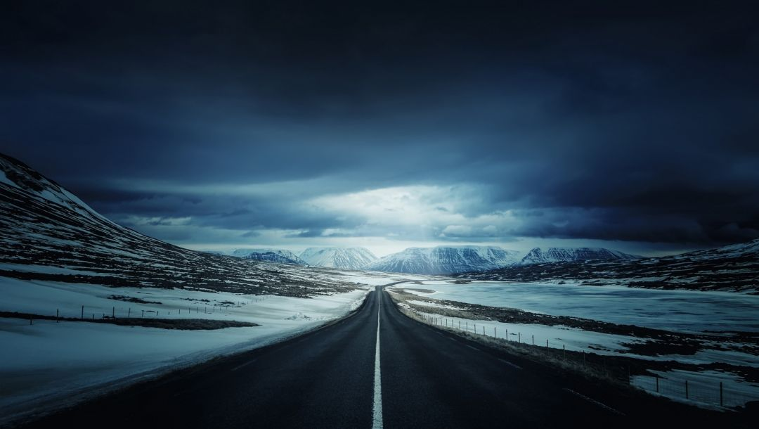 sky,mountain,Road,clouds,iceland