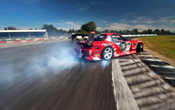 rx-7,Mazda,sky,Red,competition,smoke,sportcar