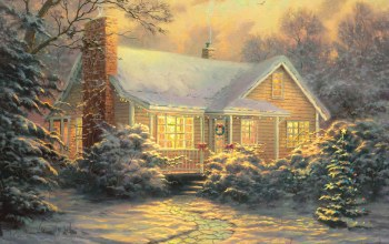 thomas kinkade,живопись,картина,christmas decoration,christmas cottage