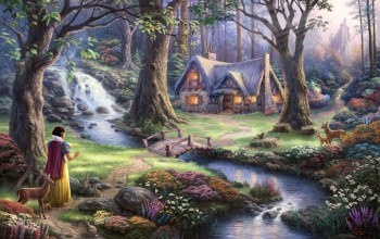 50-th anniversary,the disney dreams collection,snow white discovers the cottage,thomas kinkade