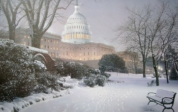 Evening on the hill,painting,hill,rod chase,United States Capitol,meeting place,evening,park