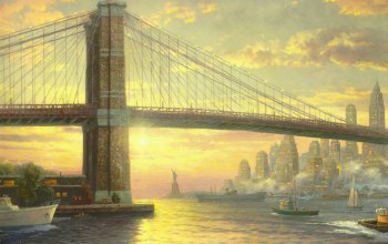 The spirit of new york,bridge,thomas kinkade,flag,new york,painting