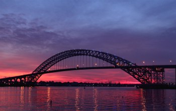 new jersey,Twilight,river,штат нью-джерси,Sunset,bayonne bridge,сша