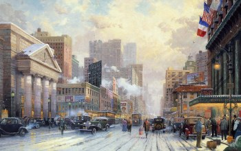 street,winter,thomas kinkade,painting,1932,snow,new york,snow on seventh avenue