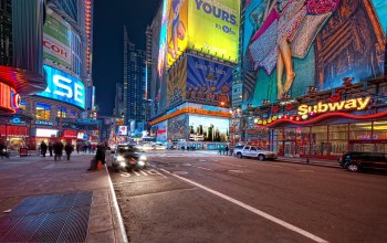 Nyc,new york,ночь,42nd and 7th,Times square