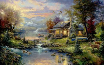 картина,river,thomas kinkade,natures paradise,painting,forest,house