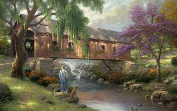 bridge,duck,thomas kinkade,Old fishin hole,Fisherman,painting,river